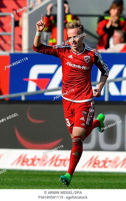 Ingolstadt's Florent Hadergjonaj celebrates his 2:1 goal during the German Bundesliga soccer match between FC Ingolstadt and FSV Mainz 05 in the Audi Sport Park...