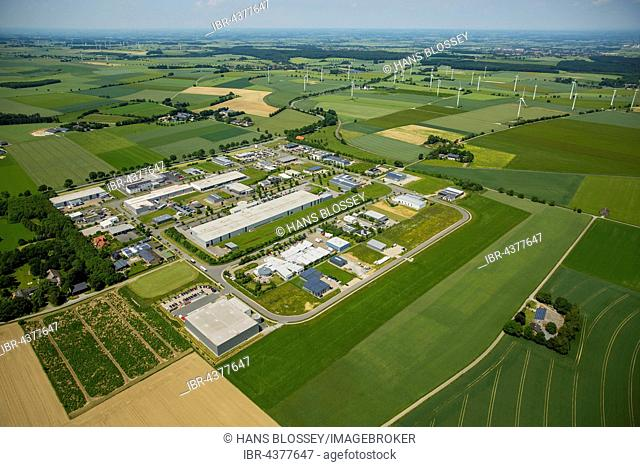 Aerial view, Industrial District commercial area, wind turbines behind, Belecke, Warstein, Sauerland, North Rhine-Westphalia, Germany