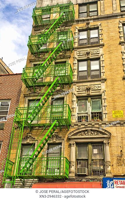 Fire stairs and decorated façade, Mulberry Street, Chinatown, Manhattan, New York City, New York, USA