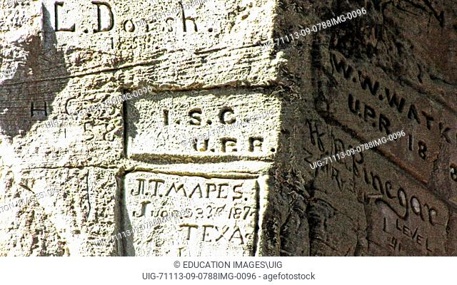 New Mexico, El Morro National Monument, Bluff-side Inscriptions. Stop 16, UPR carved by railroad survey crew in 1868