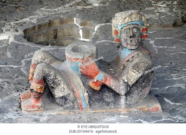 Chac Mool figure at the entrance to Tlaloc Shrine in the Templo Mayor Aztec temple ruins