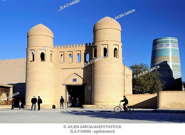 The West Gate of the walled city of Khiva. Uzbekistan, Khorezm, Khiva, Itchan Kala (inner town)