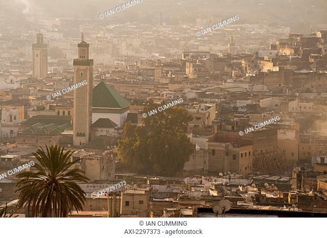 Looking down to Kairaouine Mosque and Medina of Fez at dawn; Fez, Morocco