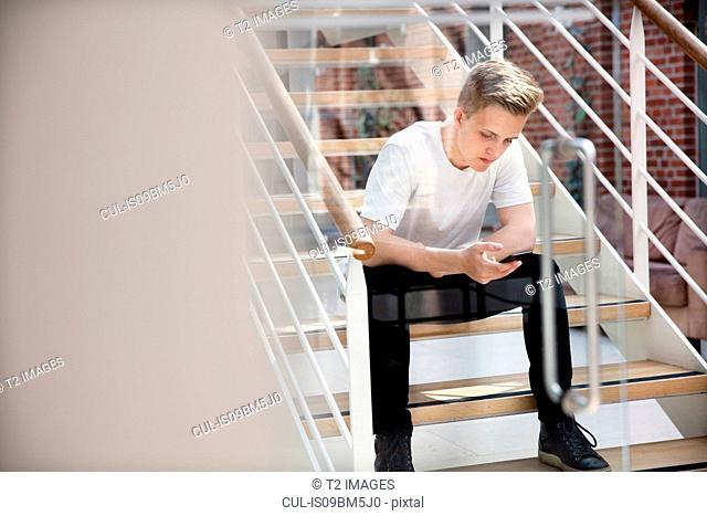 High school boy sitting on school stairway looking at smartphone