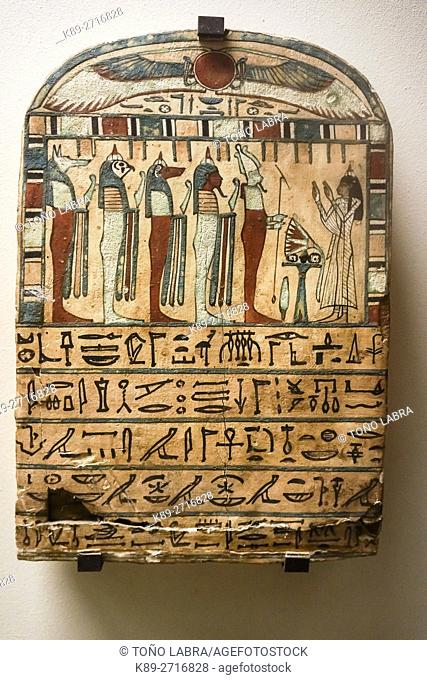 Funerary stele. Egyptian Pharaonic collection. Louvre Museum. Paris. France