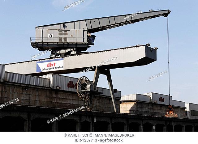 Overhead crane in the bulk terminal, DuisPort inland port, Duisburg-Ruhrorter ports, Ruhr Area, North Rhine-Westphalia, Germany, Europe