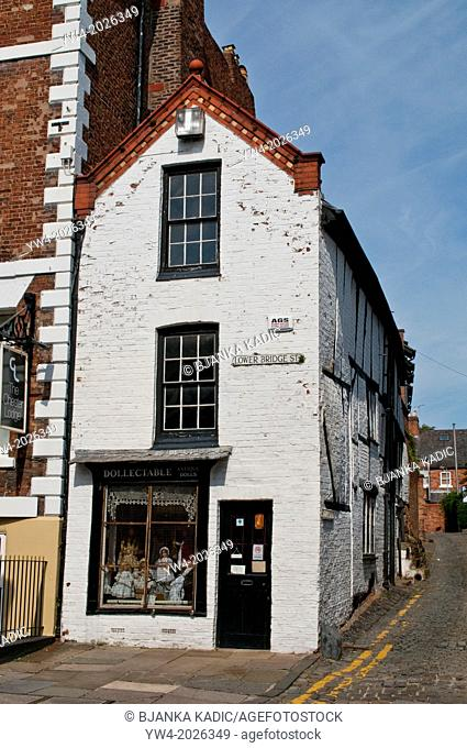 Old house with Doll's shop, Lower Bridge Street, Chester, Cheshire, UK
