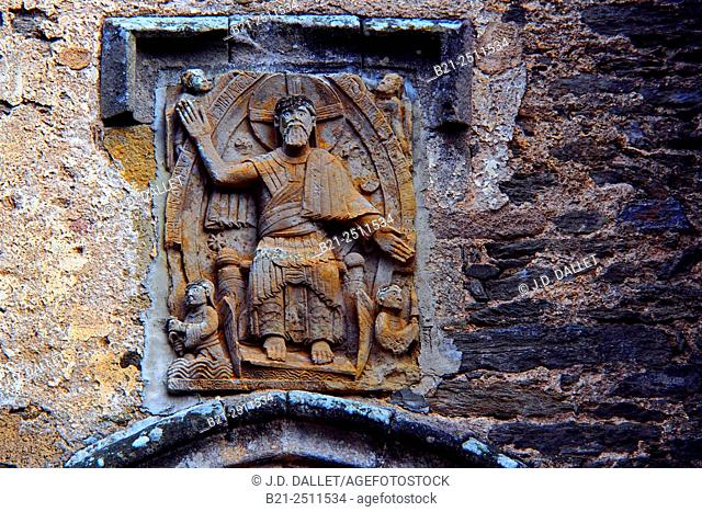 Jesus, exactly the same as on the Sainte Foie church (12th century) at Conques, on the Way of St James, tympanum of the 12th century Church of Saint-Georges de...