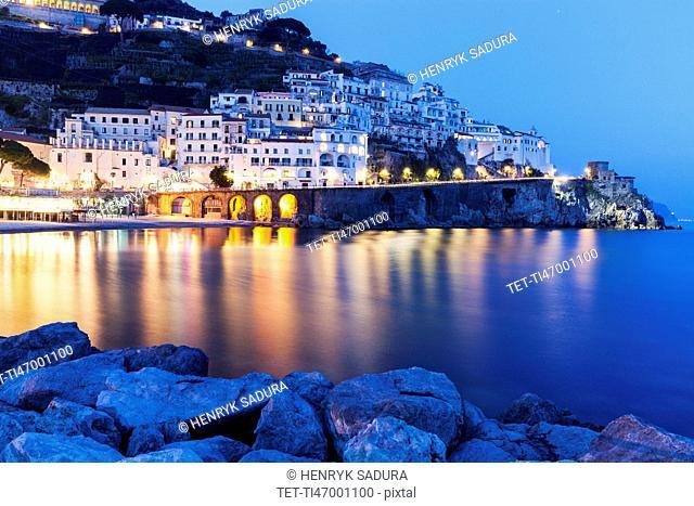 Illuminated town at night