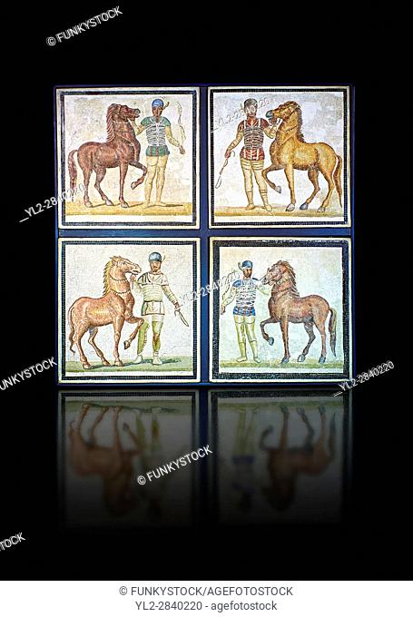 Roman geometric floor mosaic depicting horsemen and their horses from the Circus from a room of a villa in the locality Baccano near the Via Cassia, Rome