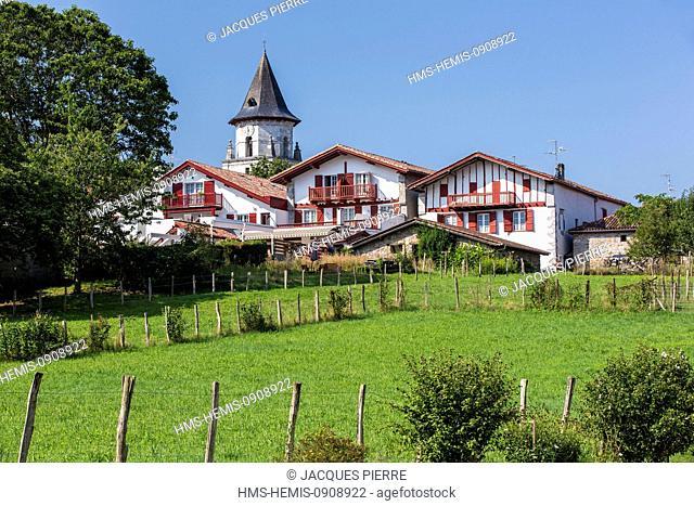 France, Pyrenees Atlantiques, Ainhoa, labelled Les Plus Beaux Villages de France (The Most Beautiful Villages of France), Notre Dame De L'Assomption church