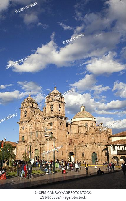 View to the Iglesia De La Compania De Jesus-La Compania De Jesus Church at Plaza de Armas Square in the historic center, Cusco, Peru, South America