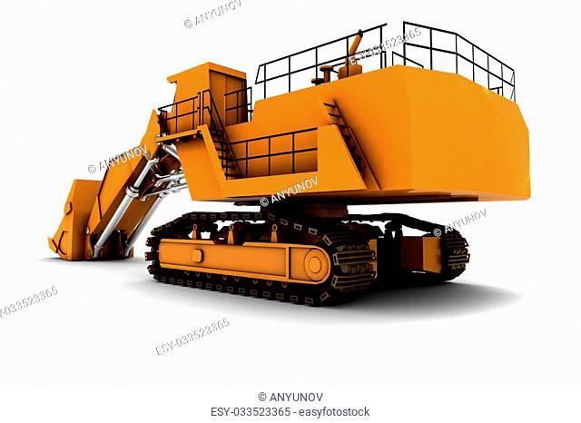 Larger orange digger isolated on white background
