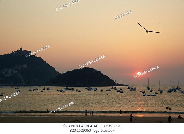 Sunset on the beach of La Concha. Donostia. San Sebastian. Gipuzkoa. Basque Country. Spain