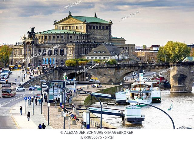 Brühl's Terrace with Semperoper opera house and the Augustus Bridge, historic centre, Dresden, Saxony, Germany