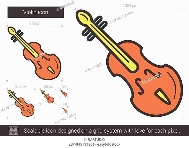 Violin vector line icon isolated on white background. Violin line icon for infographic, website or app. Scalable icon designed on a grid system