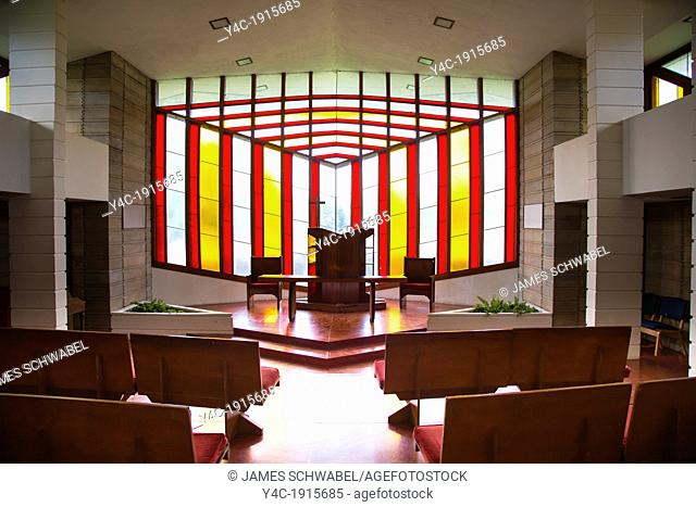 Interior of Danforth Chapel on the Frank Lloyd Wright designed Child of the Sun Florida Southern College campus in Lakeland FL