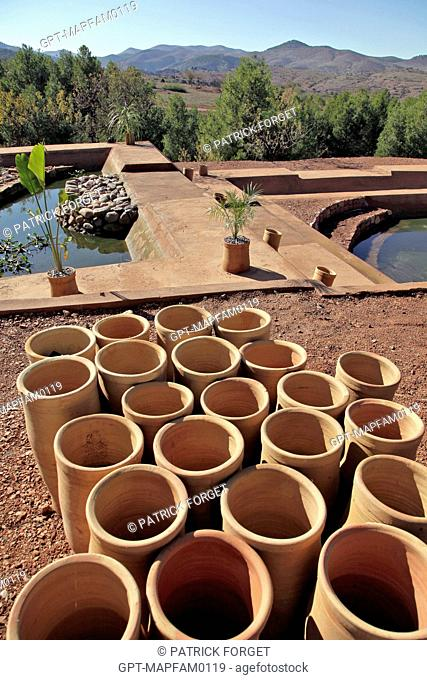 WASTE WATER TREATMENT USING NATURAL FILTRATION BY PLANTS, SUSTAINABLE DEVELOPMENT, DOMAINE DE TERRES D'AMANAR, TAHANAOUTE, BERBER COUNTRY OF AL HAOUZ, MOROCCO