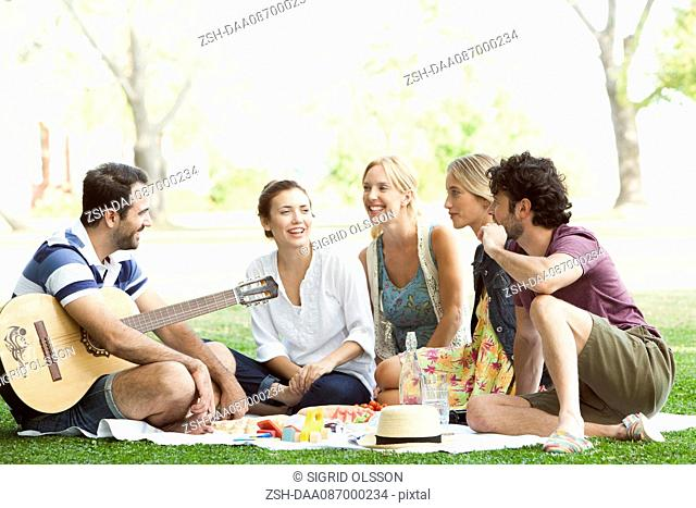 Friends enjoying picnic in park