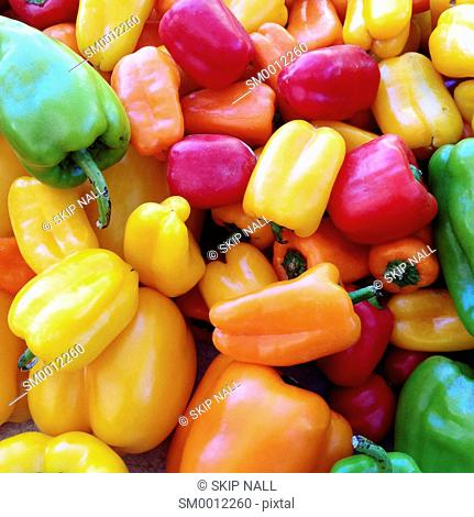 Colorful peppers in the market