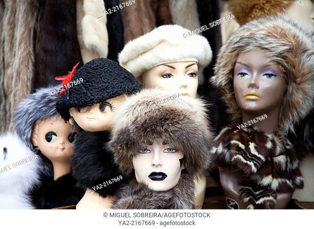 Furred mannequin Heads on portobello Rd Market - London W11 - UK