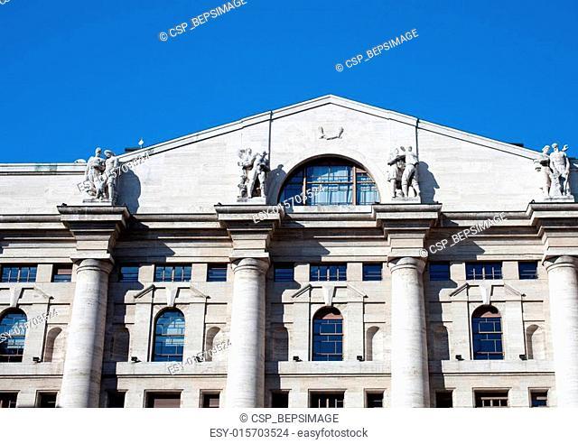 Palazzo della borsa. Exchange building on dramatic sky, Milan