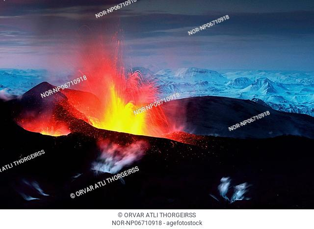 Volcanic eruption in South Iceland, image shot 26. Mars 2010