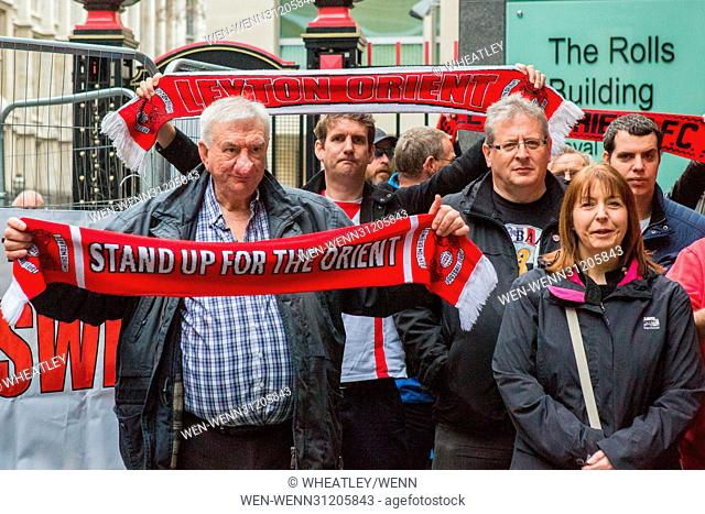 Supporters & members of the Leyton Orient Fans Trust gather in support as their club faces liquidation if it fails to pay its six-figure tax bill