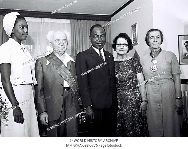 Israeli Prime Minister, Ben-Gurion with Ivory Coast President Houphouet Boigny and Foreign Minister Golda Meir in Jerusalem 1962