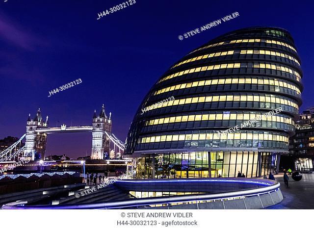 England, London, Southwark, London Bridge City, More London Riverside, City Hall and Tower Bridge