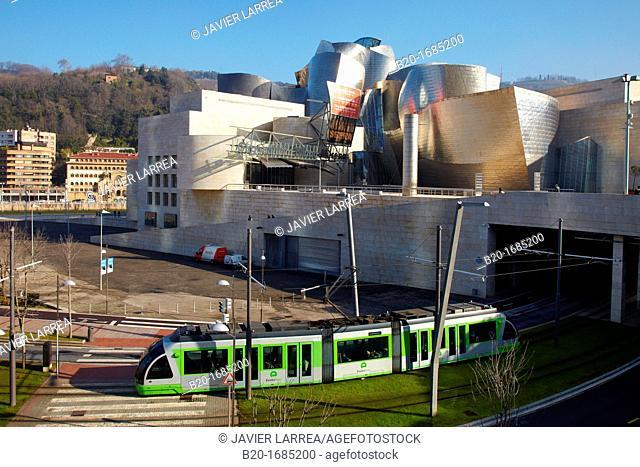 Urban tram, Euskotram, Guggenheim Museum, Abandoibarra, Bilbao, Bizkaia, Basque Country, Spain