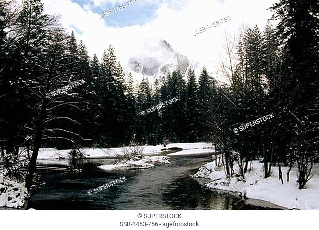 River flowing through mountains, El Capitan, Merced River, Yosemite National Park, California, USA