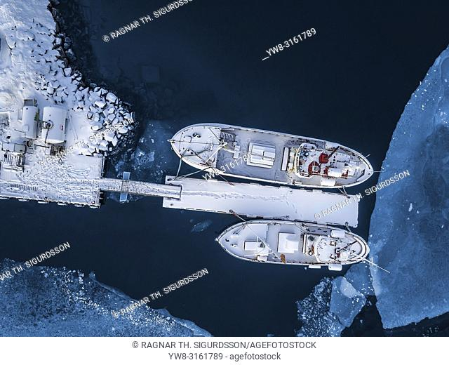 Fishing boats seen from above, Iceland