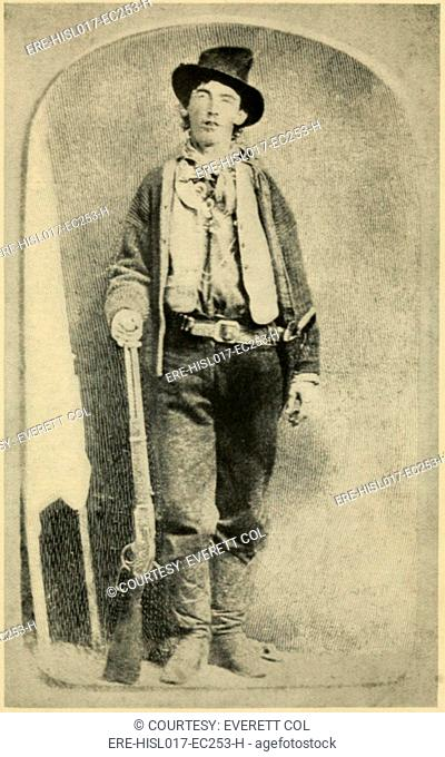 Billy the Kid 1859-81, killed twenty two men during his short life that ended when he was only 21. Engraving