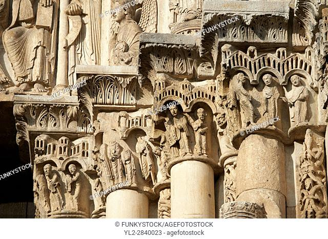 Gothic sculpted illustrated column capitals from the Cathedral of Chartres, France. . A UNESCO World Heritage Site.