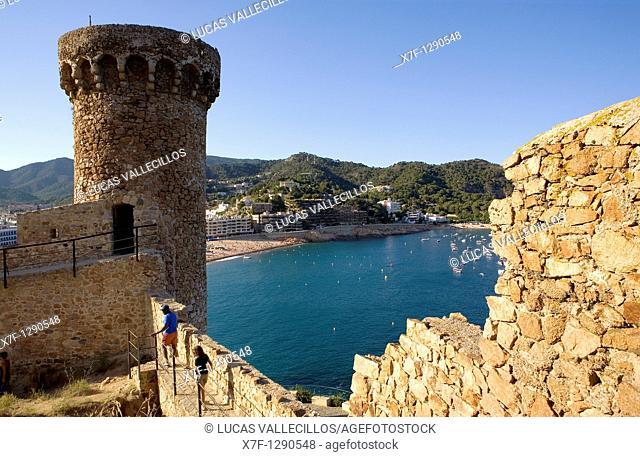 Tossa de Mar Gran beach as seen from the walls of old city Villa Vella Costa Brava  Girona province  Catalonia  Spain