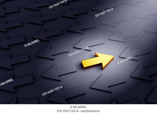 A bright, gold Arrow pointing right stands out in a dark field of gray arrows moving in the opposite direction