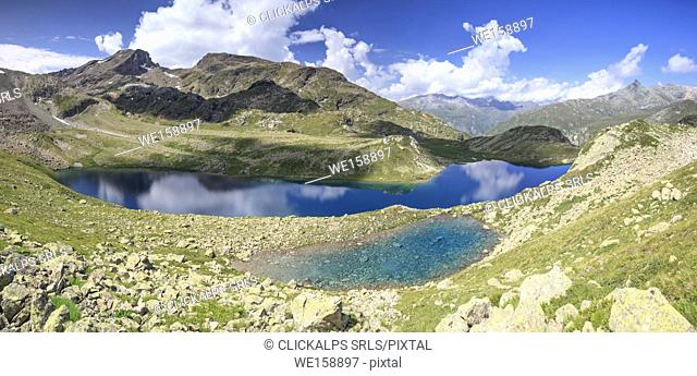 Alpine lake during summer, Leg Grevasalvas, Julierpass, Maloja, canton of Graubünden, Engadin, Switzerland