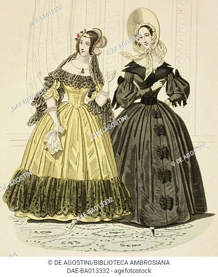 Female sketches in gloden yellow dress and in black dress with hat, plate 69 taken from Parisian Fashion, Il Corriere delle dame (Ladies' Courier)