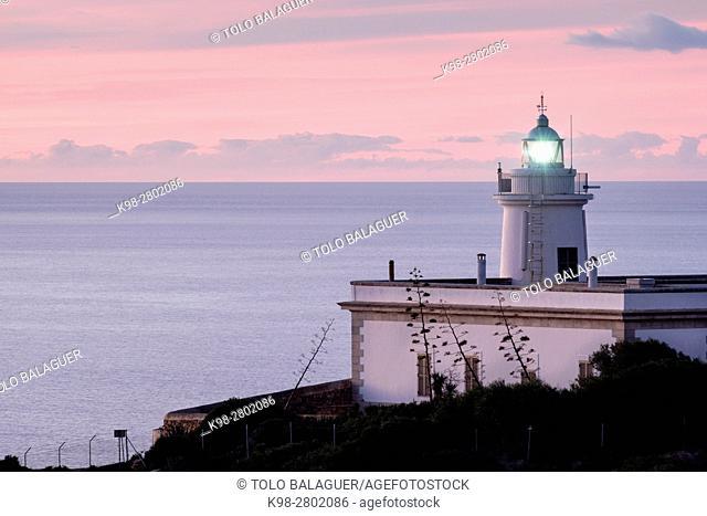 lighthouse of Cap Blanc Built in 1862. , Llucmajor, Mallorca, balearic islands, spain, europe