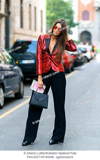 Model Sara Nicole Rossetto posing outside of the Dolce & Gabbana runway show during Milan Fashion Week - Sept 24, 2017 - Photo: Runway Manhattan/Grace Lunn...