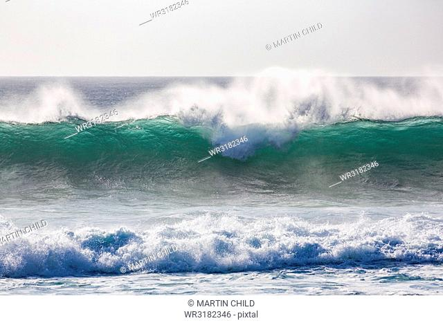 Dramatic waves off the coast at El Cotillo on the volcanic island of Fuerteventura, Canary Islands, Spain, Atlantic, Europe