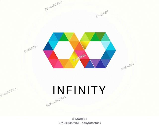 Colorful abstract infinity, endless symbol and icon