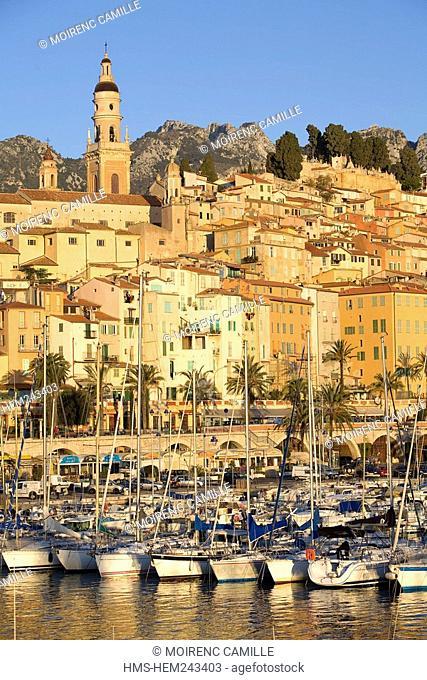 France, Alpes Maritimes, Menton, Basilique Saint Michel Saint Michael basilica and the harbor