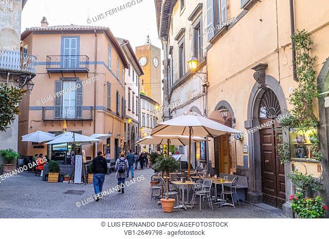 Via del Duomo with Torre del Moro in background. Orvieto, Italy,