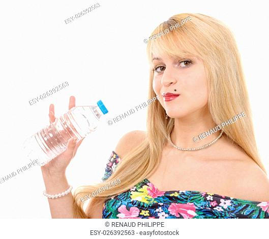 pretty young blond woman with a bottle of water, on white