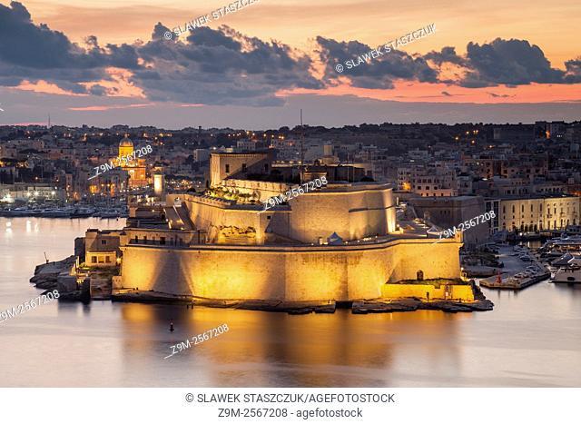 Before dawn at fort Saint Angelo, Malta