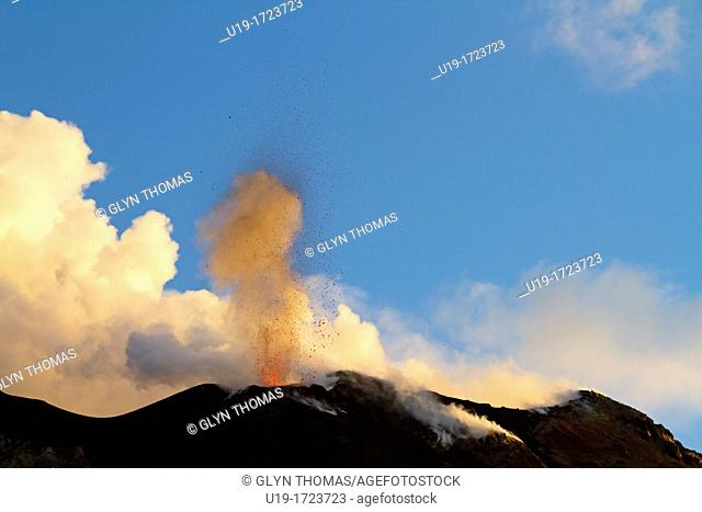 Strombolian eruption on the volcanic island of Stromboli, Sicily, Italy