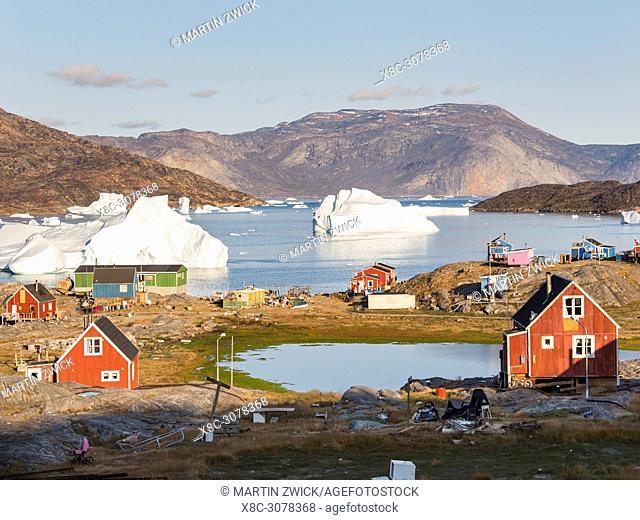 Ikerasak, a small traditional fishing village on Ikerasak Island in the Uummannaq fjord system in the north of west greenland