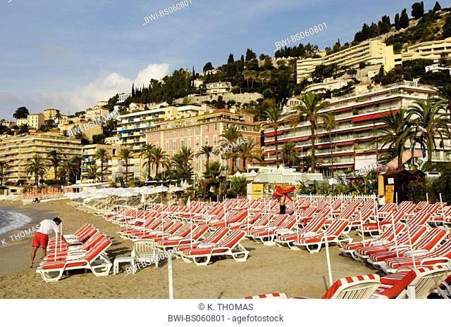 Menton, beach with red sunloungers, France, Cote d Azur, Menton